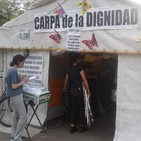 Erika Oliva, carpa de trolebuseras en la Muni